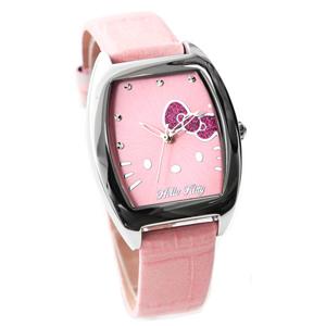 Hello Kitty亮粉蝴蝶結酒桶錶