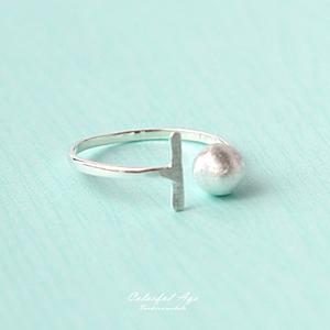 925純銀T字圓球造型戒指