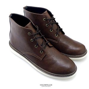 百搭素面真皮綁帶高筒靴