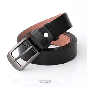 黑色軟皮革金屬扣頭腰帶