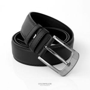 黑色寬版銀灰大扣環皮帶