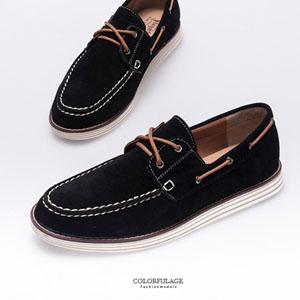 質感麂皮材質綁帶帆船鞋