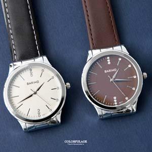 銀框不對稱水鑽刻度手錶
