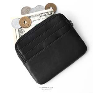黑色質感真皮卡片夾/零錢包