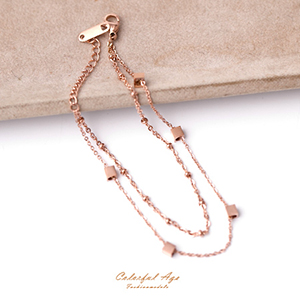 手環 小巧方塊玫瑰金鋼手鍊