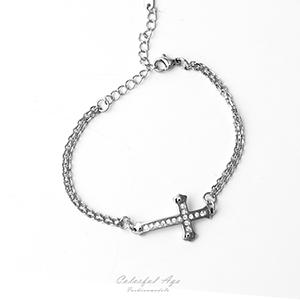 手鍊 水鑽十字架白鋼手鍊