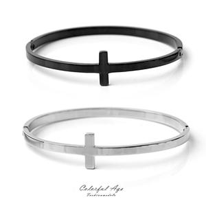 手鍊 細版十字一體成型鋼手環