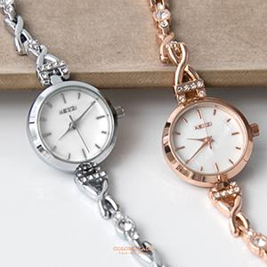 秀氣耀眼水鑽交叉鍊式腕錶
