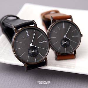黑面簡約刻度皮革車線手錶