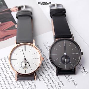 手錶 獨立秒盤皮革腕錶