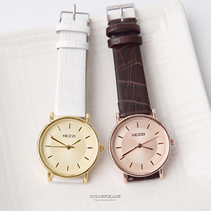 雙圈層次刻度質感皮革手錶