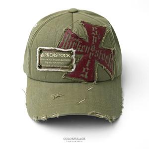 棒球帽 綠色紅十字圖騰破帽
