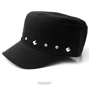 軍帽 菱形鉚釘水鑽硬挺軍帽