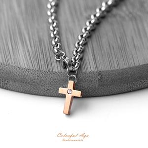 手鍊 迷你十字架水鑽鋼手環