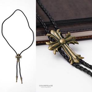 項鍊 十字架編織皮革長項鍊