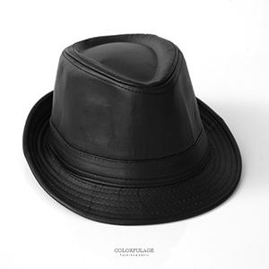 紳士帽 英倫黑色皮革紳士帽