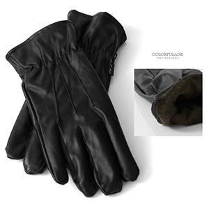 手套 秋冬防寒抓皺皮革手套