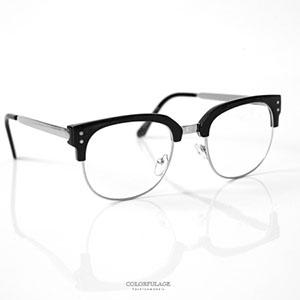 鏡框 方型金屬膠框平光眼鏡