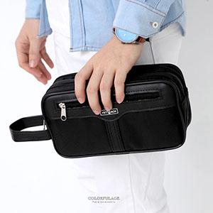 手提包 全黑雙層拉鍊收納包