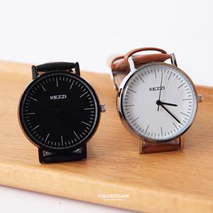 手錶 線條刻度皮革中性腕錶