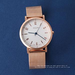 手錶 正韓Julius玫金數字鋼索錶