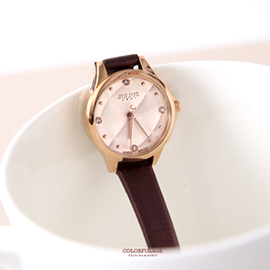手錶 正韓Julius菱格紋皮革腕錶