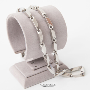 粗獷豪氣銀色白鋼項鍊