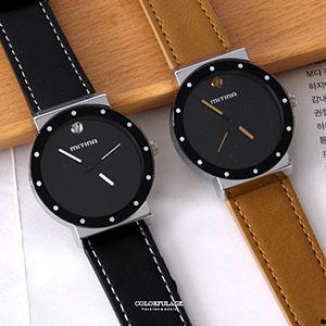 手錶 圓點刻度12點鑽皮革錶