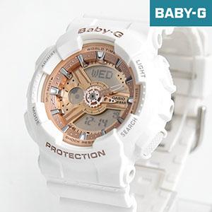 Baby-G 雪白玫瑰金運動手錶BA-110-7A1DR