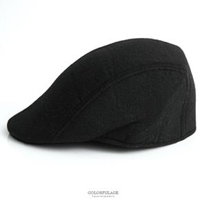 鴨舌帽 百搭素面毛呢扁帽