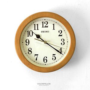 時鐘 SEIKO淺咖木質外框掛鐘