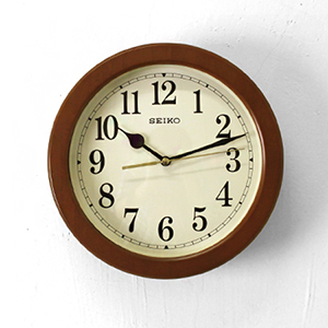 時鐘 SEIKO深咖木質外框掛鐘