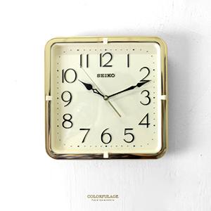 時鐘 SEIKO精工金色方形掛鐘