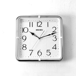 時鐘 SEIKO精工銀色方形掛鐘
