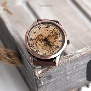 手錶 羅馬刻度世界地圖腕錶