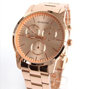 手錶 仿三眼玫金刻度鐵帶錶