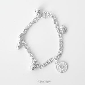 925純銀錢幣彌月手環