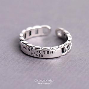戒指 925純銀字母鎖鍊活動戒