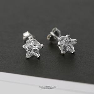 925純銀星星水鑽耳環