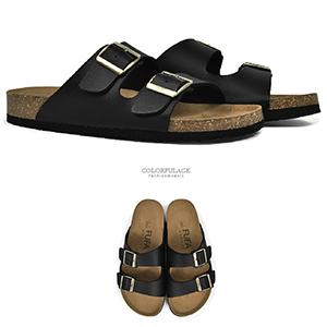 拖鞋 百搭雙排皮革涼拖鞋