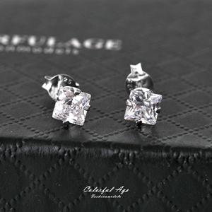 925純銀方形水鑽耳環
