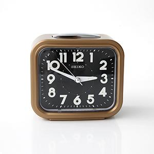 SEIKO金框黑面夜光指針鬧鐘