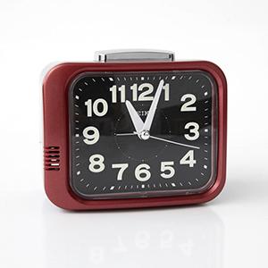SEIKO簡約紅黑框夜光指針鬧鐘