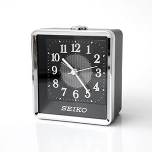 SEIKO時尚質感黑面方形鬧鐘
