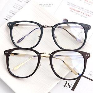平光眼鏡 木紋圓鏡框金屬架