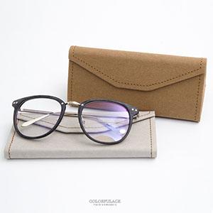 眼鏡盒 皮革車線摺疊眼鏡盒
