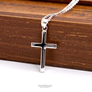 項鍊 925純銀素面十字架項鍊