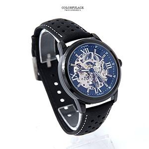 機械錶 羅馬刻度鏤空皮革錶