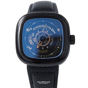 機械錶 深藍方型鏤空皮革錶