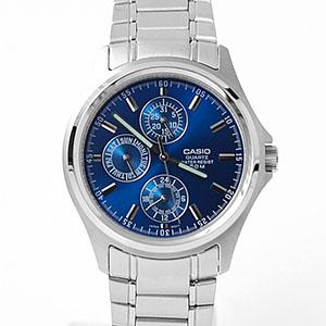 CASIO卡西歐耀眼藍三眼鋼錶